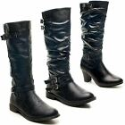 New Ladies Low High Block Heel Zip Buckle Knee Length Slouch Boots Size UK 3-8