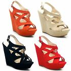 New Ladies Platform High Heel Ankle Strappy Peep Toe Wedge Sandals UK Size 3-8