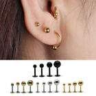 Unisex Hypoallergenic Titanium Steel Ball Ear Earrings Studs 3/4/5mm Multicolors