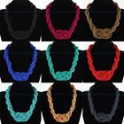 Fashion Handmade Knit Braid Resin Seed Beads Chain Collar Pendant Bib Necklace