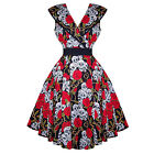 Womens Skull Rose Print Gothic Rockabilly 50s Party Dress