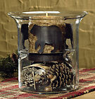 """Bear Candle Pan by Park Designs, Rustic Brown Finish, 6.25"""" Pillar or Jar Size"""