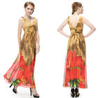 Ever Pretty Double V-neck Ruched Waist Floral Printed Long Party Dress 08092