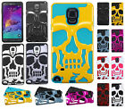 For Samsung Galaxy Note 4 SKULL Hard Hybrid Dual Layer Rubber Case Phone Cover