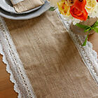 "14""x108"" Burlap Lace Hessian Table Runner Jute Scallop Edge Barn Wedding Decor"