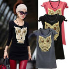 Vogue Womens Long Sleeve Sequins Owl Print Sweater Knitwear Pullover Jumper Tops