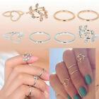 4PCS Women Rings Urban Gold&Silver Plated Crystal Knuckle Band Midi Ring Fashion