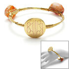 Engravable Gold Plated 7 Inch Stone Bangle Cuff Bracelet (Choose Color)