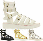 Ladies Women High Leg Gladiator Strappy Cut Out Chunky Sole Sandals Shoes Size