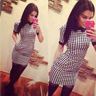 New Women Dress Slim Short Sleeved Plaid Print Bodycon Casual Dresses