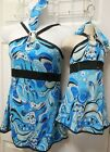 Blue Paisley Print 70's Style Mini Dress Dance Costume Top Dress Ch/Ladies NWT