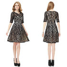 Ever Pretty Padded Lace Pleats Round Neck Black Party Dress 06119