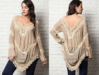 TAUPE BEIGE (54) CROCHET TUNIC Top V-Neck Long Sleeve Shirt XL 1X 2X PLUS SIZE