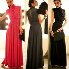 Charming Womens Stand Collar Pleated Maxi Full Length Formal Evening Dress 6941