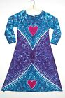 TIE DYE Women's Hearts Long Sleeve Dress hippie boho gypsy art love sm med lg xl