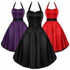 HEARTS & ROSES LONDON Satin 50er Stil Schwingendes Damenkleid Rockabilly