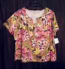 SUPER SOFT TROPICAL SHIMMER BEADS COTTON BLEND STRETCHY KNIT TOP SHIRT BLOUSE~3X