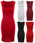 Ladies Sleeveless Square Neck Back Zip Pencil Bodycon Women's Short Dress 8-14