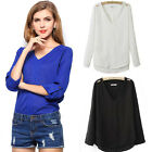 Fashion Womens Lady Long Sleeve Button Chiffon T-shirt Blouse Tops S-L White