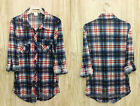 NAVY BLUE RED (24E) PLAID BUTTON UP TOP Boyfriend Shirt Blouse Basic S M L XL