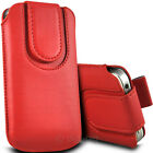 RED (PU) LEATHER MAGNETIC BUTTON PULL TAB POUCH FOR A RANGE OF MOBILES