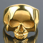 Wholesale Punk Rock Gold Skull Head Masonic Gothic Stainless Steel Finger Rings