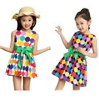 Kids Girl Colorful Round Circle Sleeveless Dress Belt Skater Casual Party Dress