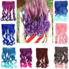 Curly Long Gradient Extension Change Rainbow Color Clip In Wavy Hair Women