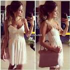 Summer Beach Womens Summer Strap Pleated Dress Lace Crochet Ladies Short Dress