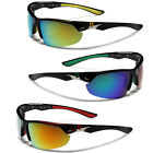 Polarized Wrap Around Sport Men Fishing Golf Sunglasses Black with Mirrored Lens