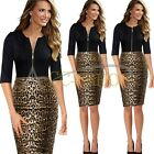 Elegant Women Pinup Leopard Bodycon Party Sheath Casual Business Pencil Dress