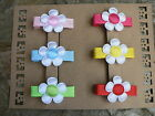 """Set Of Six 1"""" White Satin Flowers With Assorted Coloured Centre Hairclips"""