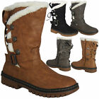Ladies Women Mid Calf Buckle Lace Up Hard Grip Sole Winter Snow Rain Boots Size
