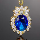 Lady Fashion Jewelry Oval Cut Blue Sapphire Gold Tone Pendant Necklace Chain