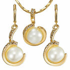 Jewelry Set Swarovski Elements Crystal Pearl Lady Earrings Pendant Necklace