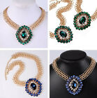 Bohemia Multicolor Chunky Metal Big Crystal Pendant Statement Choker Necklace