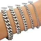 "3/5/7/9/11/mm Mens Chain Curb Link Silver Tone Stainless Steel Bracelet 7-11""HOT"