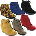FOREVER PEGGY-51 Women's Hot Fashion Lace Up Wedge Sneakers Casual shoes