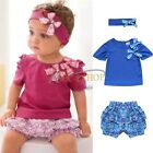 3Pcs Baby Girl Newborn Kids Infant Short Top+Shorts+Headband Summer Clothes Set
