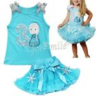 2PCS Baby Girl Doll Cotton Tank Top Shirt + Tutu Skirt Outfit Set Clothes SZ 2-8