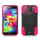 Samsung Galaxy S5 Mini Advanced Layer HYBRID KICKSTAND Rubber Case +Screen Guard