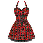 Ladies New Hearts & Roses London Red Tartan Tattoo Punk Emo Prom Party Dress