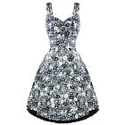 Womens Ladies New Vintage 50s Navy Blue White Floral Party Prom Summer Sun Dress