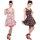 Black White Pink Floral Vintage 50s Rockabilly Party Dress