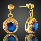 Celebrity Swarovski Elements 18K Yellow Gold Plated Round Dangle Drop Earrings