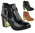 Ladies Womens Gold Mid High Block Heel Chelsea Chunky Low Ankle Boots Shoes Size