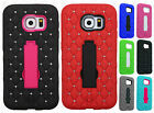 For Samsung Galaxy S6 HYBRID IMPACT KICKSTAND Dazzling Diamond Case Phone Cover