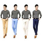 Mens New Casual Male Slim Fit Pants Fashion Skinny Cotton Straight Long Trousers