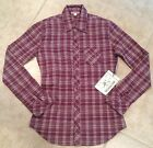TRUE RELIGION Shirt PLAID WOVEN Long Sleeve BURGUNDY Size XS M NEW