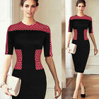 Lady Elegant Polka Dots Business Bodycon Cocktail Pencil Party Evening Dress B40